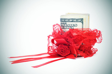 red garter and money