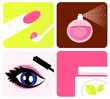 Beauty, cosmetic and makeup icons isolated on white. Vector
