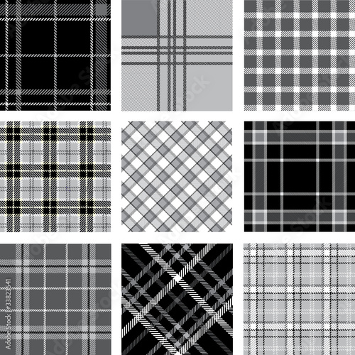 Black & white plaid patterns set