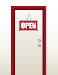 red and white open sign illustration design