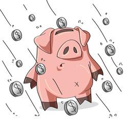 Piovono monete sul maiale