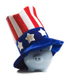 Piggy bank and uncle sam poster