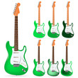 set of green electric guitars isolated on white background