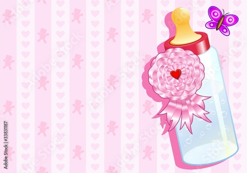 Sfondo Biberon Bimba Femmina-Baby Bottle Girl Background