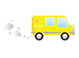 Yellow post cartoon moving bus vector illustration poster