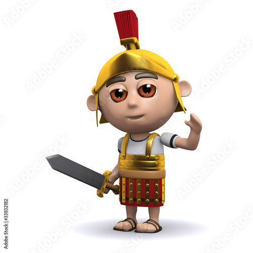 3d Roman soldier waves to the crowd