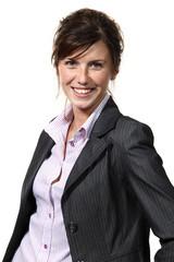 donna d'affari su fondo bianco
