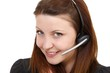 young beautiful woman with headset (white background)