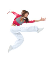 pretty modern slim hip-hop style woman dancer jumping and dancin