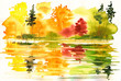 Quadro Autumn landscape with lake and forest.
