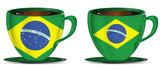 set of Brazil coffee cups isolated on white background