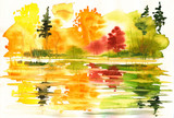 Fototapety Autumn landscape with lake and forest.