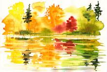 Hösten landskap med sjö och skog.