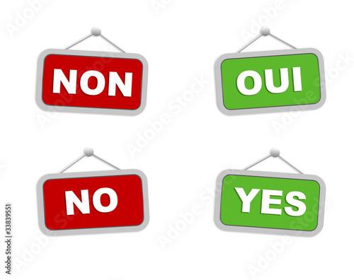 Panneaux oui non yes no photo libre de droits sur la for Oui non minimaliste
