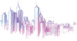 The hand-drown city skyline in a pastel shades...