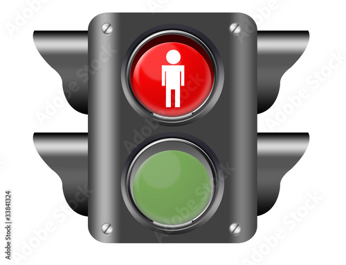 traffic light with pedestrian