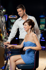 young couple at the casino
