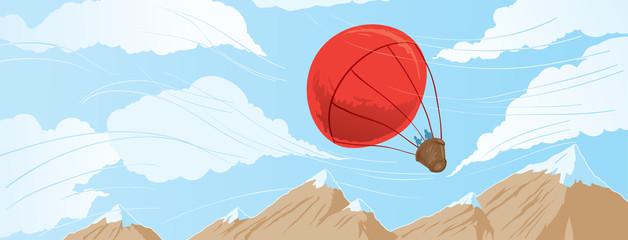 Drawing of a hot air balloon ride