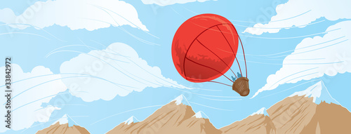 Drawing of a hot air balloon ride