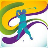 Modish background with golf player.