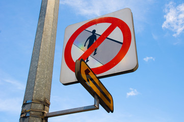 No Jaywalking Sign