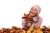 Fototapety autumn woman in studio