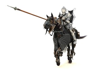 Armoured knight on charging warhorse