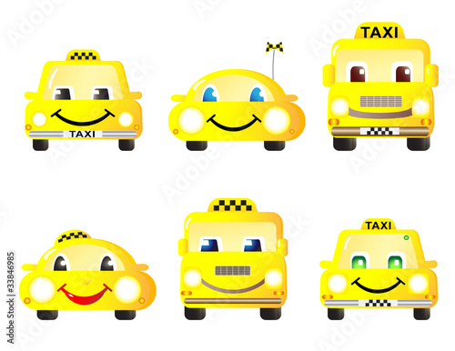 set of cute taxi cars