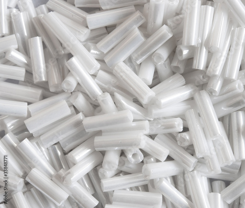 long white glass beads, macro
