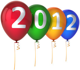 Happy New Year balloons decoration multicolor silver 2012 text