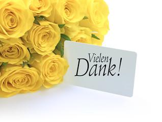Gelbe Rosen und Vielen Dank