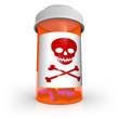 Poison Skull and Crossbones Symbol on Medicine Bottle