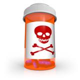 Poison Skull and Crossbones Symbol on Medicine Bottle poster