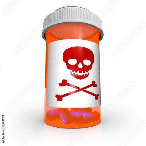 Poison Skull and Crossbones Symbol on Medicine Bottle