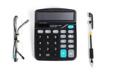 Calculator,pen and eye glasses