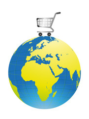 shopping cart over earth