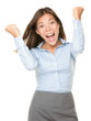 Cheering happy business woman
