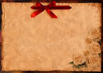 altes Briefpapier weiße rosen und rote schleife