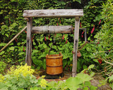 Rustic Garden Well with water Bucket
