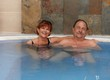 Mature couple smiling in spa
