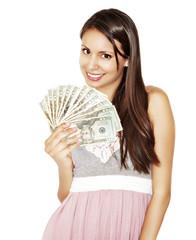 Attractive woman holding cash dollar bills