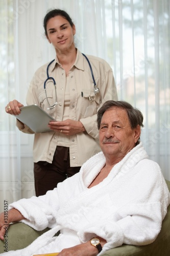 Elderly man waiting for examination