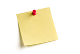 empty post note pinned on white background