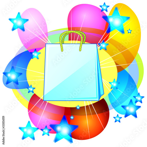 Blank shopping bad over abstract background