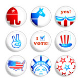 USA election campaign badges isolated over white poster