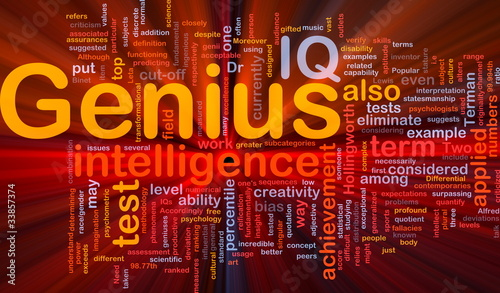 Genius intelligence background concept glowing