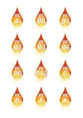 Gammes de vitamines A, B, C, D, K, PP, B9