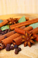 Pack of several oriental spices, anise, cinnamon, pimento