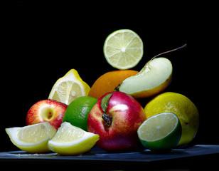 fruit on a black background