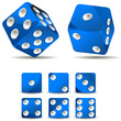 set of blue dices isolated on white background